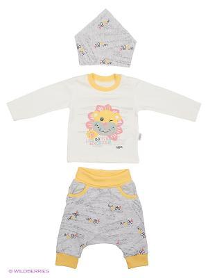 Костюм для малышей WO&GO. Цвет: белый, серый меланж, желтый
