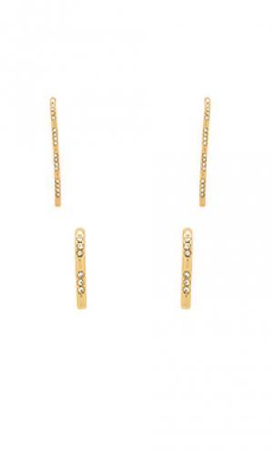 Свисающие серьги с редкой инкрустацией Luv AJ. Цвет: металлический золотой