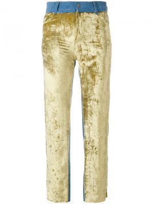 Укороченные брюки дизайна пэчворк Act N°1. Цвет: зелёный