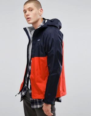 Patagonia 2-цветная водонепроницаемая куртка. Цвет: темно-синий