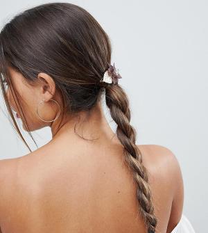 ASOS Заколка для волос с цветочной отделкой. Цвет: золотой