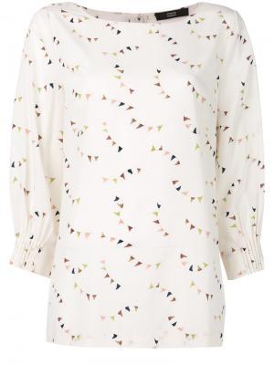 Блузка с флажками Steffen Schraut. Цвет: белый