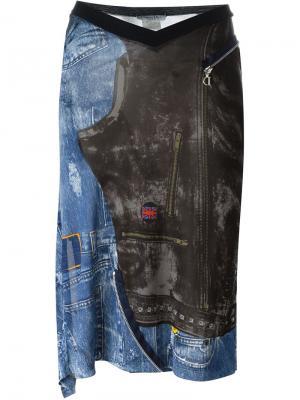 Юбка с джинсовым принтом Christian Dior Vintage. Цвет: многоцветный