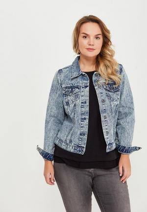 Куртка джинсовая Zizzi. Цвет: голубой