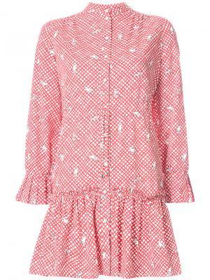 Платье-рубашка с вышивкой Saloni. Цвет: красный