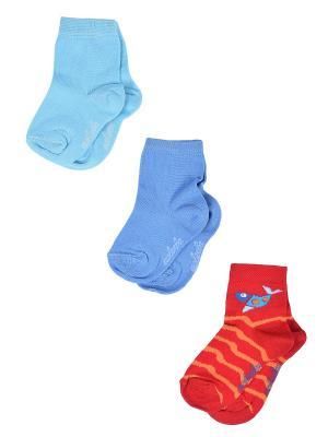 Носки Детские,комплект 3шт Malerba. Цвет: голубой, красный