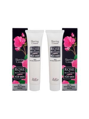 Набор: Крем для бритья Rose of Bulgaria for men,  (75 мл x 2шт) Biofresh. Цвет: черный, белый, розовый
