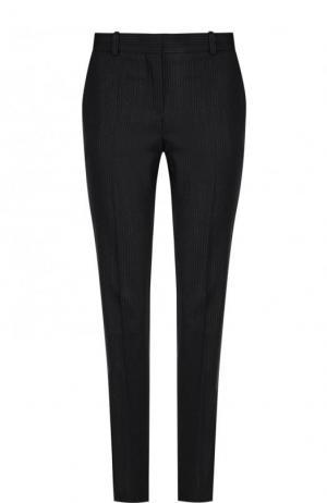 Шерстяные брюки прямого кроя со стрелками BOSS. Цвет: темно-синий