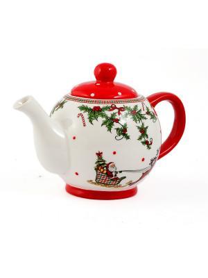 Чайник заварочный Русские подарки. Цвет: красный, белый