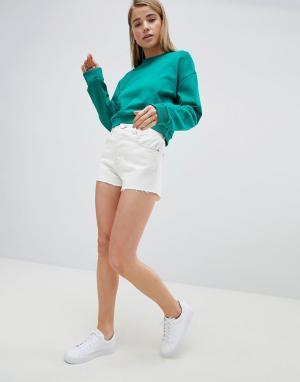 ASOS Белые джинсовые шорты с необработанными краями и строчками табачного ц. Цвет: белый