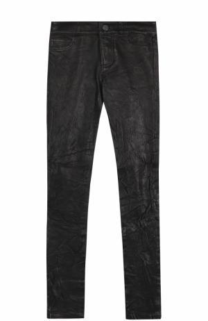 Укороченные кожаные брюки-скинни Paige. Цвет: черный
