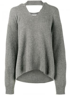Вязаный свитер в рубчик Lisa Rejina Pyo. Цвет: серый