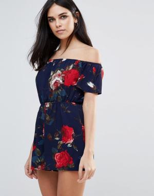 Parisian Ромпер с открытыми плечами и цветочным принтом. Цвет: темно-синий