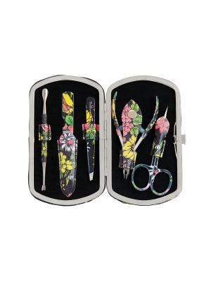 Маникюрный набор Solinberg Comfort Line PD13 Цветы, 5 предметов, футляр - экокожа.. Цвет: серебристый