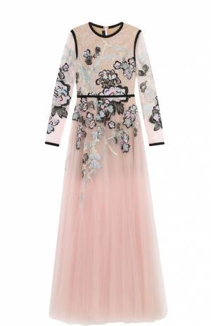 Приталенное платье-макси с декоративной отделкой Elie Saab. Цвет: разноцветный