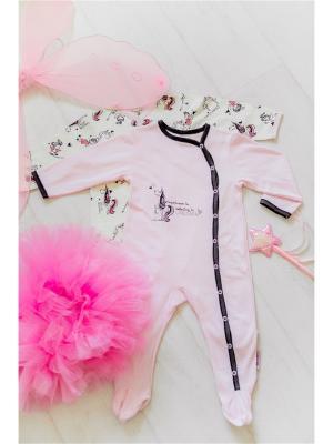 Комбинезон Lucky Child. Цвет: темно-серый, молочный, розовый