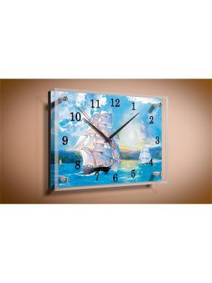 Настенные часы Бригантина 20х30 В917 PROFFI. Цвет: белый, синий, голубой, светло-голубой, светло-серый, желтый