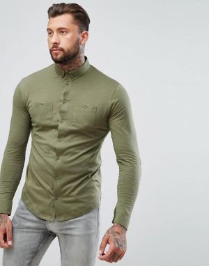 BoohooMAN Зеленая трикотажная рубашка с двумя карманами. Цвет: зеленый