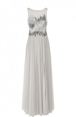 Приталенное платье в пол с вышивкой и открытой спиной Basix Black Label. Цвет: серебряный