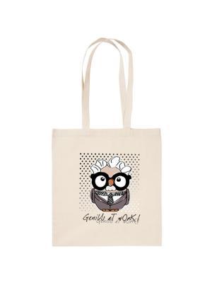 Холщовая сумка с совой Альберт Эйнштейн Goofi. Цвет: бежевый