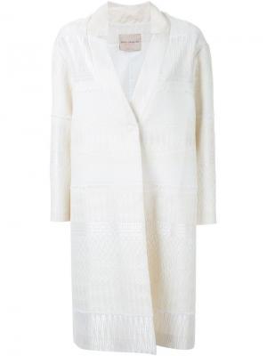 Жаккардовое однобортное пальто Erika Cavallini. Цвет: белый