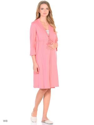 Комплект для беременных и кормящих (халат-пеньюар + сорочка) Hunny Mammy. Цвет: бежевый, коралловый