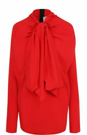 Блуза с драпировкой и воротником аскот Marni. Цвет: красный