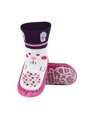 Тапочки-носочки детские SOXO. Цвет: фиолетовый, розовый, белый