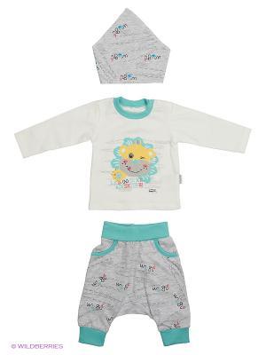 Костюм для малышей WO&GO. Цвет: белый, морская волна, серый меланж