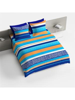 Комплект постельного белья 1.5 Браво рис.4060-1 Гретхен BRAVO!. Цвет: синий, оранжевый