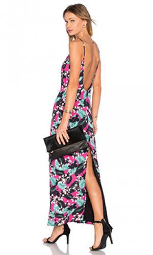 Макси платье с глубоким вырезом tropical NBD. Цвет: розовый