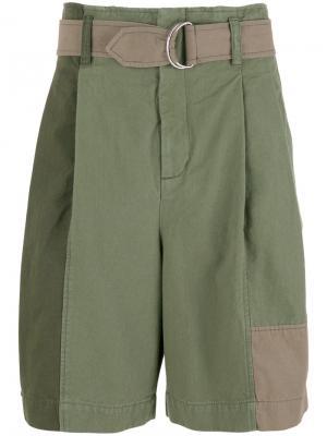 Объемные лоскутные шорты 3.1 Phillip Lim. Цвет: зелёный