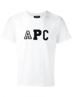 Футболка с принтом-логотипом A.P.C.. Цвет: белый