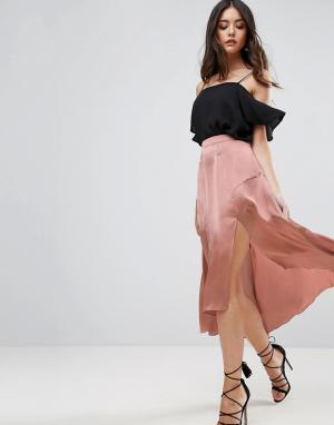 ASOS Атласная юбка миди с разрезами и вставками. Цвет: медный