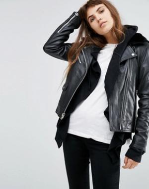 Goosecraft Кожаная куртка с искусственным мехом на воротнике. Цвет: черный