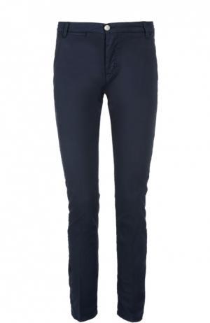 Слаксы из эластичного хлопка 2 Men Jeans. Цвет: темно-синий
