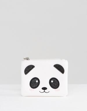 New Look Кошелек с вышивкой в виде панды. Цвет: белый