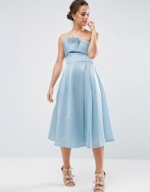 ASOS Платье-бандо миди с сетчатой отделкой и складками PREMIUM. Цвет: синий