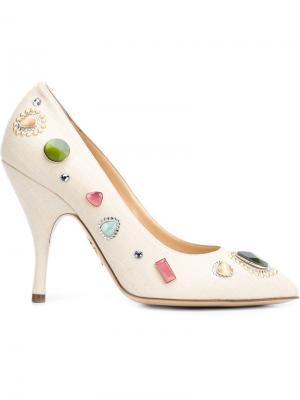 Декорированные туфли Etta Charlotte Olympia. Цвет: телесный