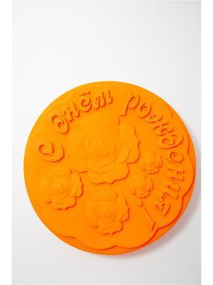 Форма для выпечки силиконовая, d28см С Днем Рождения Vetta. Цвет: оранжевый