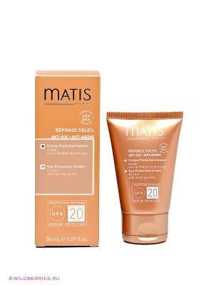 Крем солнцезащитный для лица SPF20 загара Matis. Цвет: оранжевый