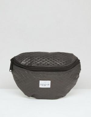 Spiral Черная стеганая сумка-кошелек на пояс. Цвет: черный