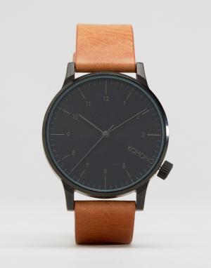 Komono Светло-коричневые часы с кожаным ремешком Winston Regal. Цвет: рыжий