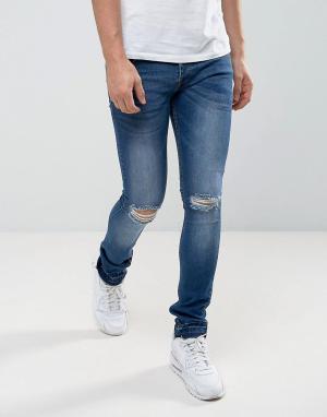 Loyalty & Faith Зауженные выбеленные джинсы с развернутым краем and Manc. Цвет: синий