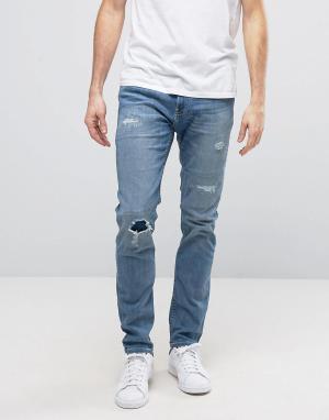 Hollister Синие джинсы скинни с рваной отделкой и декоративной штопкой. Цвет: синий