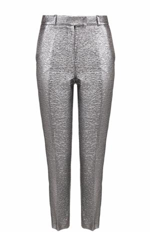 Укороченные брюки с металлизированной отделкой и лампасами Racil. Цвет: серебряный