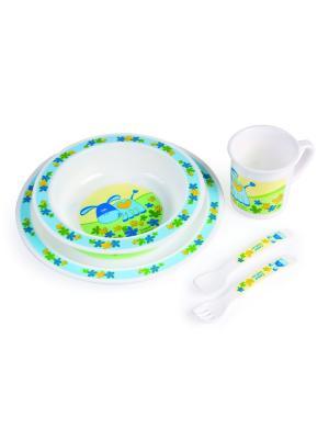 Набор обеденный пластиковый, 12м+, цвет: голубой Canpol babies. Цвет: голубой, желтый, белый