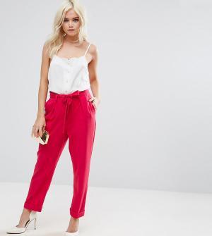 ASOS Petite Тканые брюки-галифе с поясом оби. Цвет: розовый