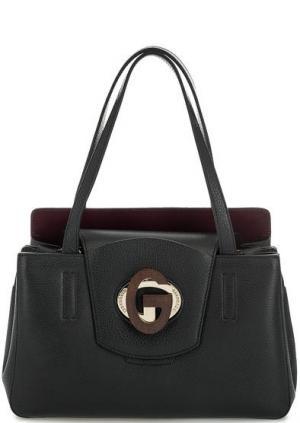 Черная кожаная сумка с откидным клапаном Gironacci. Цвет: черный