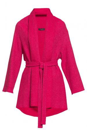 Пальто из искусственного шелка и шерсти с поясом 184239 Cyrille Gassiline. Цвет: красный